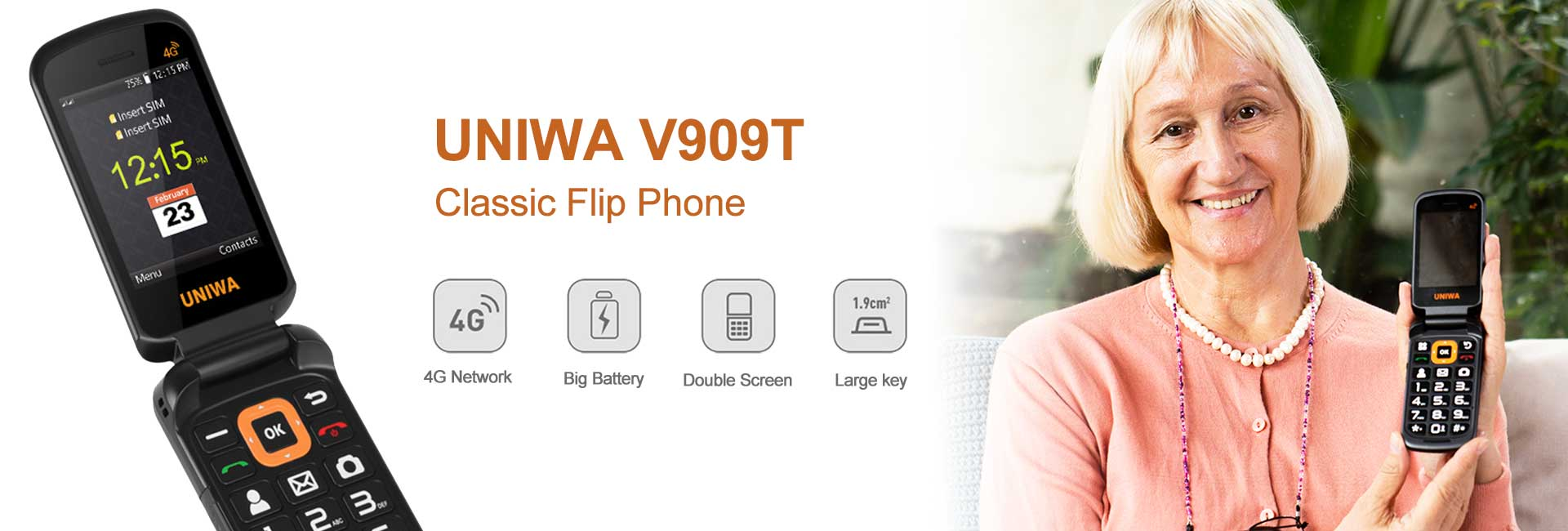 V909T Flip feature phone